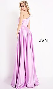 Image of JVN by Jovani one shoulder simple long formal gown. Style: JO-JVN-21-JVN1766 Back Image