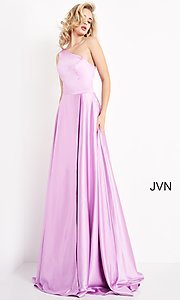 Image of JVN by Jovani one shoulder simple long formal gown. Style: JO-JVN-21-JVN1766 Detail Image 1