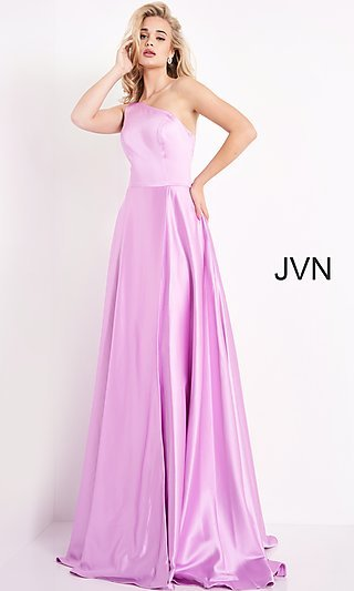 JVN by Jovani One Shoulder Simple Long Formal Gown