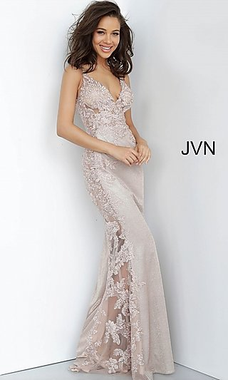 JVN by Jovani Long Formal Dress with Sheer Panels