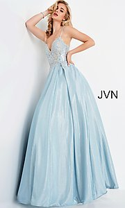 Image of JVN by Jovani lace-up sheer corset prom ball gown. Style: JO-JVN-21-JVN2206 Detail Image 1