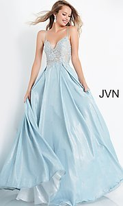Image of JVN by Jovani lace-up sheer corset prom ball gown. Style: JO-JVN-21-JVN2206 Front Image