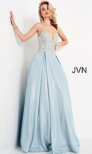 Image of JVN by Jovani lace-up sheer corset prom ball gown. Style: JO-JVN-21-JVN2206 Detail Image 2