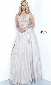 Image of JVN by Jovani lace-up sheer corset prom ball gown. Style: JO-JVN-21-JVN2206 Detail Image 7