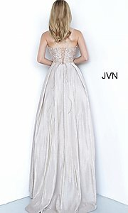 Image of JVN by Jovani lace-up sheer corset prom ball gown. Style: JO-JVN-21-JVN2206 Detail Image 8