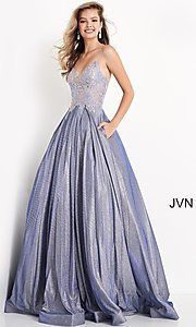 Image of JVN by Jovani lace-up sheer corset prom ball gown. Style: JO-JVN-21-JVN2206 Detail Image 4