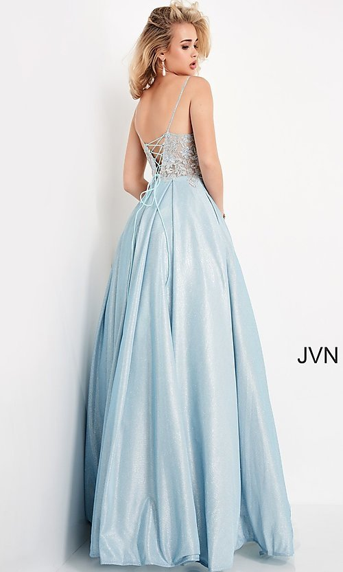 Image of JVN by Jovani lace-up sheer corset prom ball gown. Style: JO-JVN-21-JVN2206 Back Image