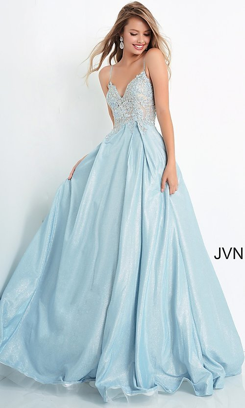 Image of JVN by Jovani lace-up sheer corset prom ball gown. Style: JO-JVN-21-JVN2206 Detail Image 3