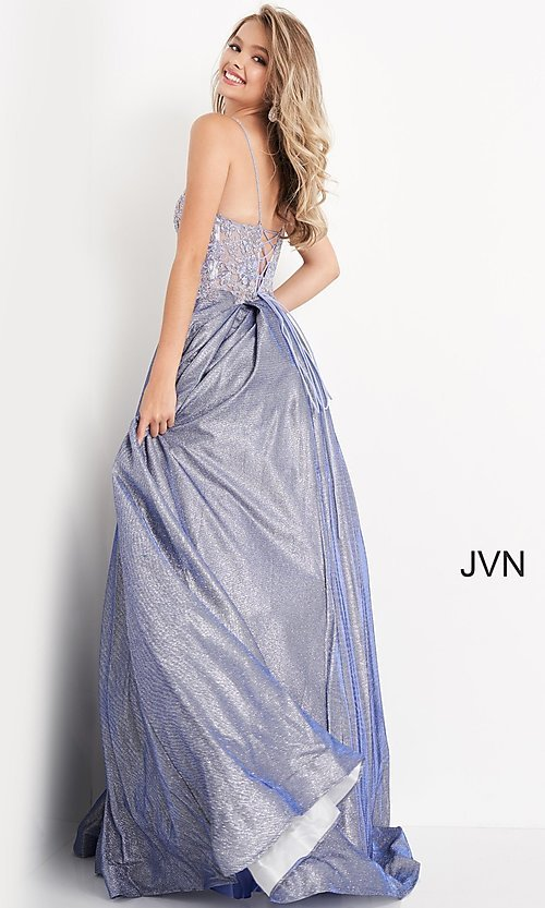 Image of JVN by Jovani lace-up sheer corset prom ball gown. Style: JO-JVN-21-JVN2206 Detail Image 5