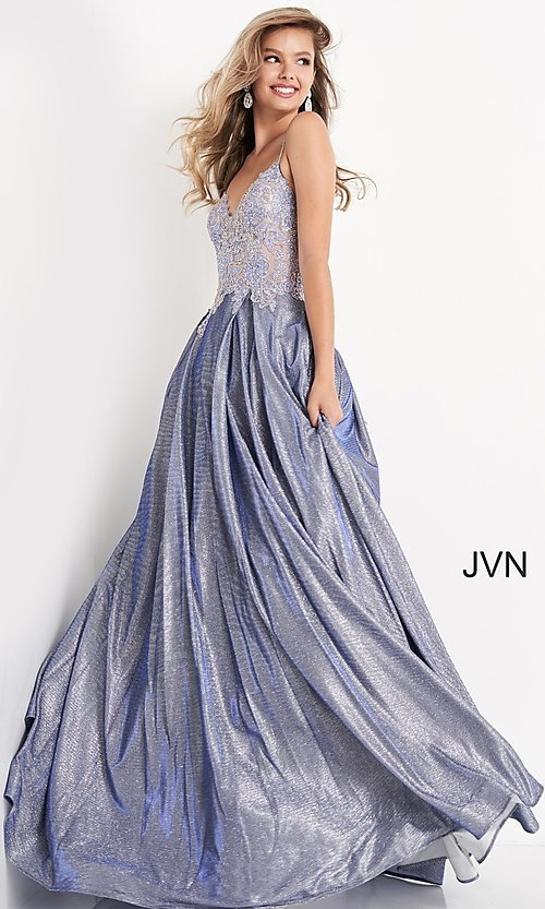 Image of JVN by Jovani lace-up sheer corset prom ball gown. Style: JO-JVN-21-JVN2206 Detail Image 6