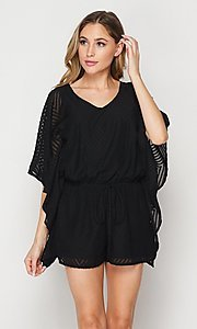 Image of casual v-neck drawstring romper with sleeves. Style: LAS-BIG-21-PR4169 Detail Image 4