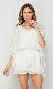 Image of casual v-neck drawstring romper with sleeves. Style: LAS-BIG-21-PR4169 Front Image