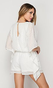 Image of casual v-neck drawstring romper with sleeves. Style: LAS-BIG-21-PR4169 Back Image