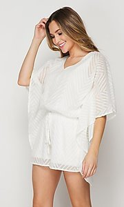 Image of casual v-neck drawstring romper with sleeves. Style: LAS-BIG-21-PR4169 Detail Image 1