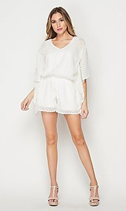 Image of casual v-neck drawstring romper with sleeves. Style: LAS-BIG-21-PR4169 Detail Image 3