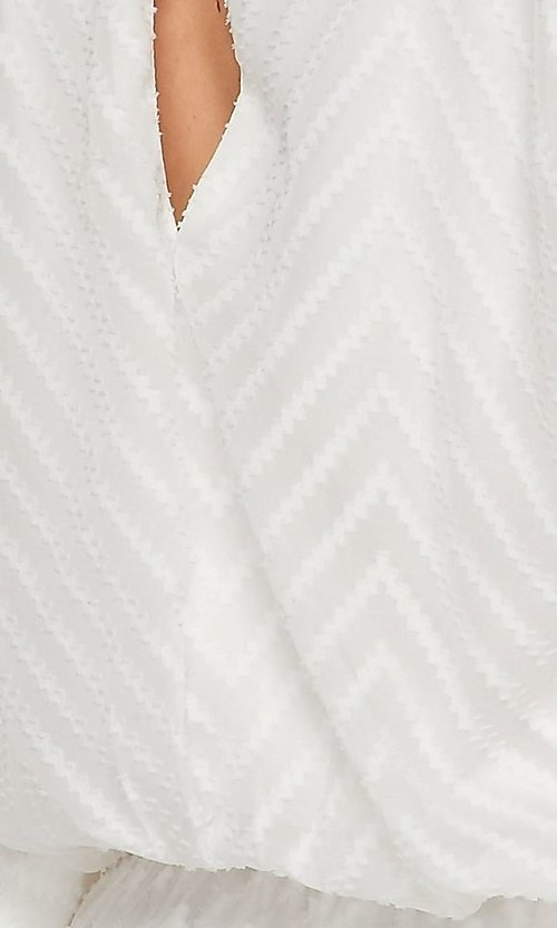 Image of casual v-neck drawstring romper with sleeves. Style: LAS-BIG-21-PR4169 Detail Image 2
