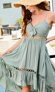 Image of front-tie high-low casual summer party dress. Style: LAS-MST-21-LD50338 Detail Image 2