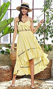Image of front-tie high-low casual summer party dress. Style: LAS-MST-21-LD50338 Detail Image 1
