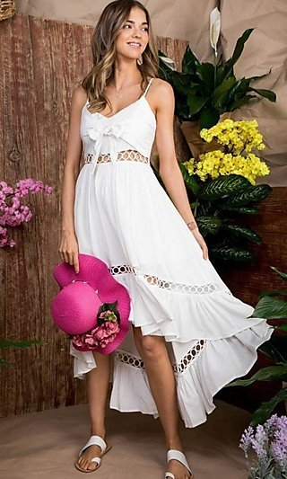 Front-Tie High-Low Casual Summer Party Dress