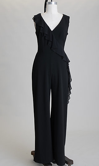 V-Neck Black Sleeveless Jumpsuit with Ruffle Detail