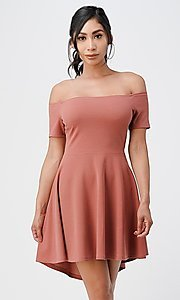 Image of off-the-shoulder cute high-low casual party dress. Style: LAS-LSC-21-25977 Front Image