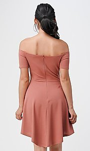Image of off-the-shoulder cute high-low casual party dress. Style: LAS-LSC-21-25977 Back Image