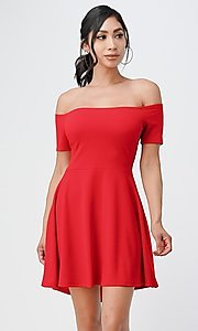 Image of off-the-shoulder cute high-low casual party dress. Style: LAS-LSC-21-25977 Detail Image 3