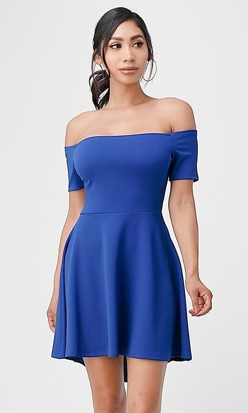 Image of off-the-shoulder cute high-low casual party dress. Style: LAS-LSC-21-25977 Detail Image 4