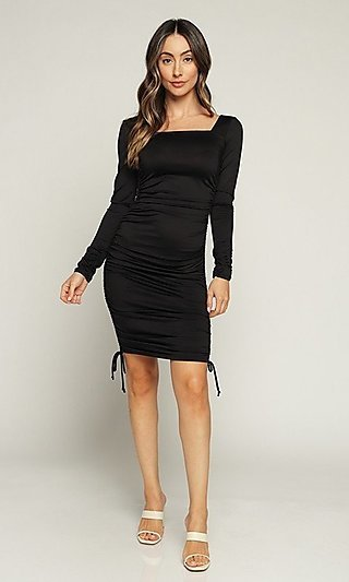 Fitted Side-Ruched Short Long Sleeve Casual Dress