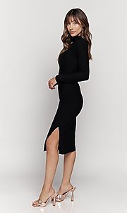 Image of knee length mock-neck long sleeve party dress. Style: LAS-HAH-21-JD41974L Detail Image 3