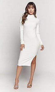 Image of knee length mock-neck long sleeve party dress. Style: LAS-HAH-21-JD41974L Detail Image 5