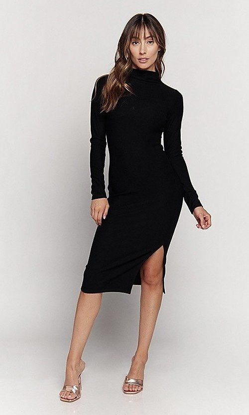 Image of knee length mock-neck long sleeve party dress. Style: LAS-HAH-21-JD41974L Front Image