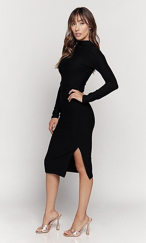 Image of knee length mock-neck long sleeve party dress. Style: LAS-HAH-21-JD41974L Detail Image 1