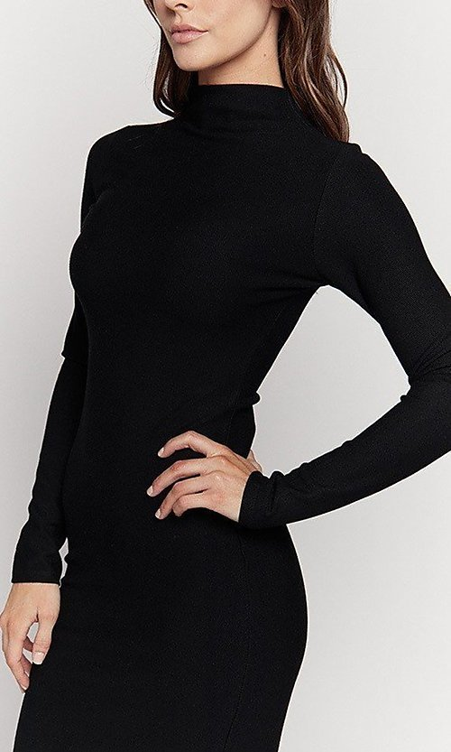 Image of knee length mock-neck long sleeve party dress. Style: LAS-HAH-21-JD41974L Detail Image 2
