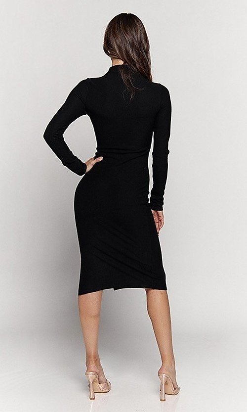 Image of knee length mock-neck long sleeve party dress. Style: LAS-HAH-21-JD41974L Detail Image 4