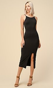 Image of black midi wedding-guest party dress. Style: LAS-HAH-21-JD43279 Front Image