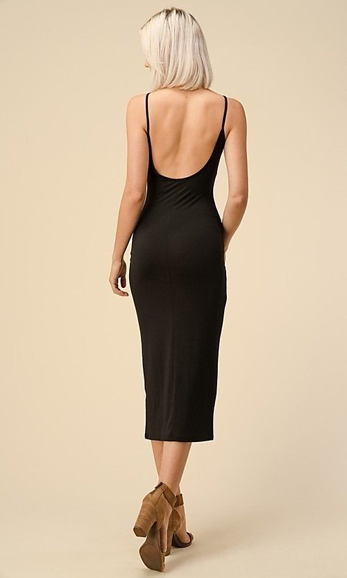 Image of black midi wedding-guest party dress. Style: LAS-HAH-21-JD43279 Back Image