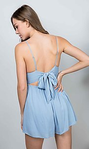 Image of light blue short casual romper with tie back. Style: LAS-ILL-21-IM4569 Back Image