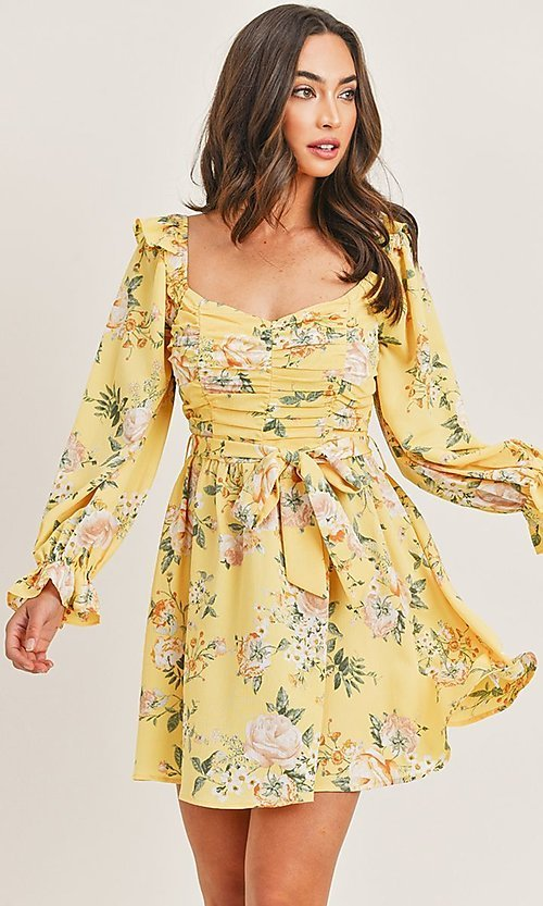 Image of yellow floral print long sleeve short party dress. Style: LAS-PRI-21-PD71138E Front Image