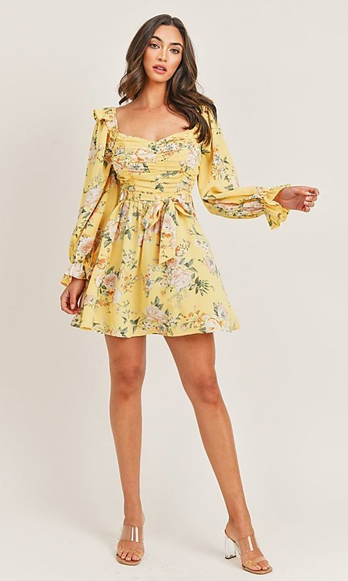 Image of yellow floral print long sleeve short party dress. Style: LAS-PRI-21-PD71138E Detail Image 1