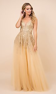 Image of gold embroidered long tulle open-back prom dress. Style: NA-21-R345 Front Image