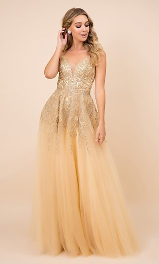 Gold Embroidered Long Tulle Open-Back Prom Dress