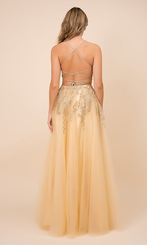 Image of gold embroidered long tulle open-back prom dress. Style: NA-21-R345 Back Image