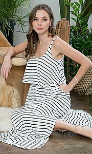 Image of striped long casual maxi dress with popover ruffle. Style: LAS-SWE-21-SD5318 Detail Image 3