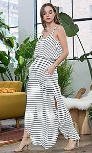 Image of striped long casual maxi dress with popover ruffle. Style: LAS-SWE-21-SD5318 Detail Image 4