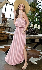 Image of striped long casual maxi dress with popover ruffle. Style: LAS-SWE-21-SD5318 Detail Image 5