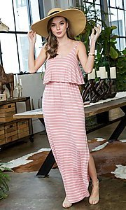 Image of striped long casual maxi dress with popover ruffle. Style: LAS-SWE-21-SD5318 Detail Image 1
