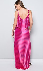 Image of striped long casual maxi dress with popover ruffle. Style: LAS-SWE-21-SD5318 Back Image