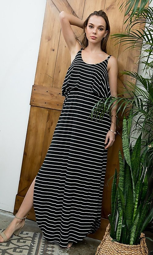 Image of striped long casual maxi dress with popover ruffle. Style: LAS-SWE-21-SD5318 Front Image