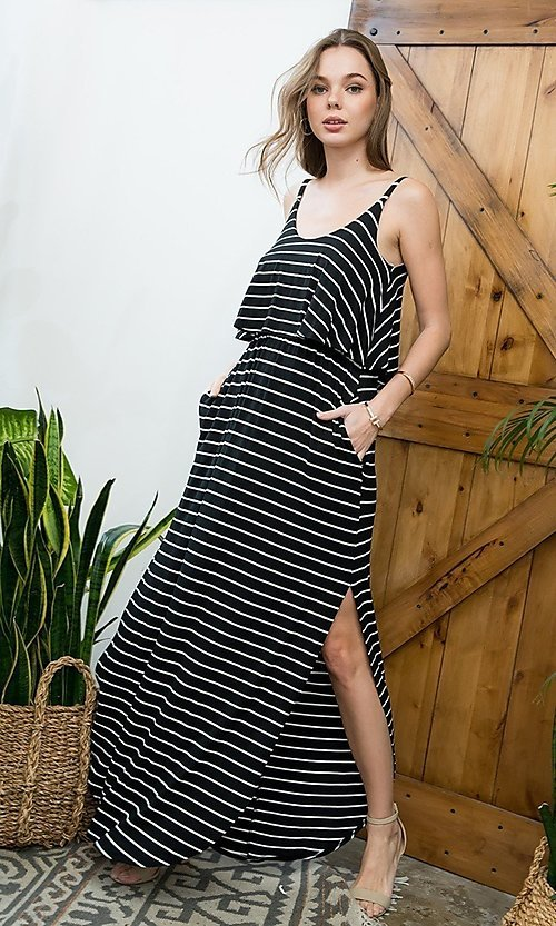 Image of striped long casual maxi dress with popover ruffle. Style: LAS-SWE-21-SD5318 Detail Image 7